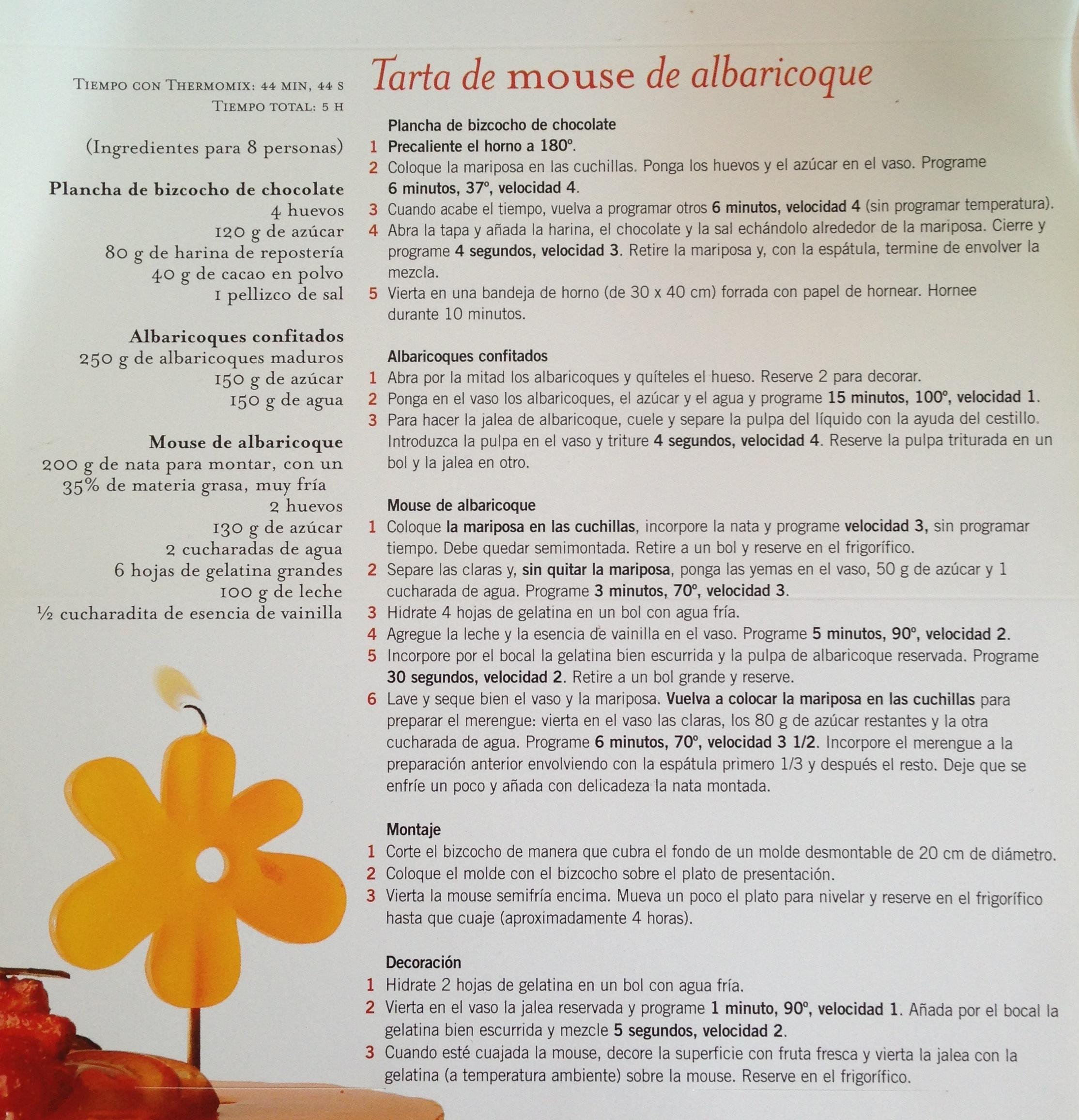 PASTÍS DE MOUSSE D'ALBERCOC / TARTA DE MOUSSE DE ALBARICOQUE