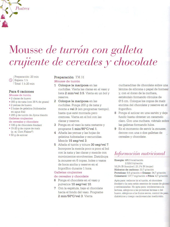 MOUSSE DE TORRÓ AMB GALETA CRUIXENT DE CEREALS I XOCOLATA / MOUSSE DE TURRÓN CON GALLETA CRUJIENTE DE CEREALES Y CHOCOLATE