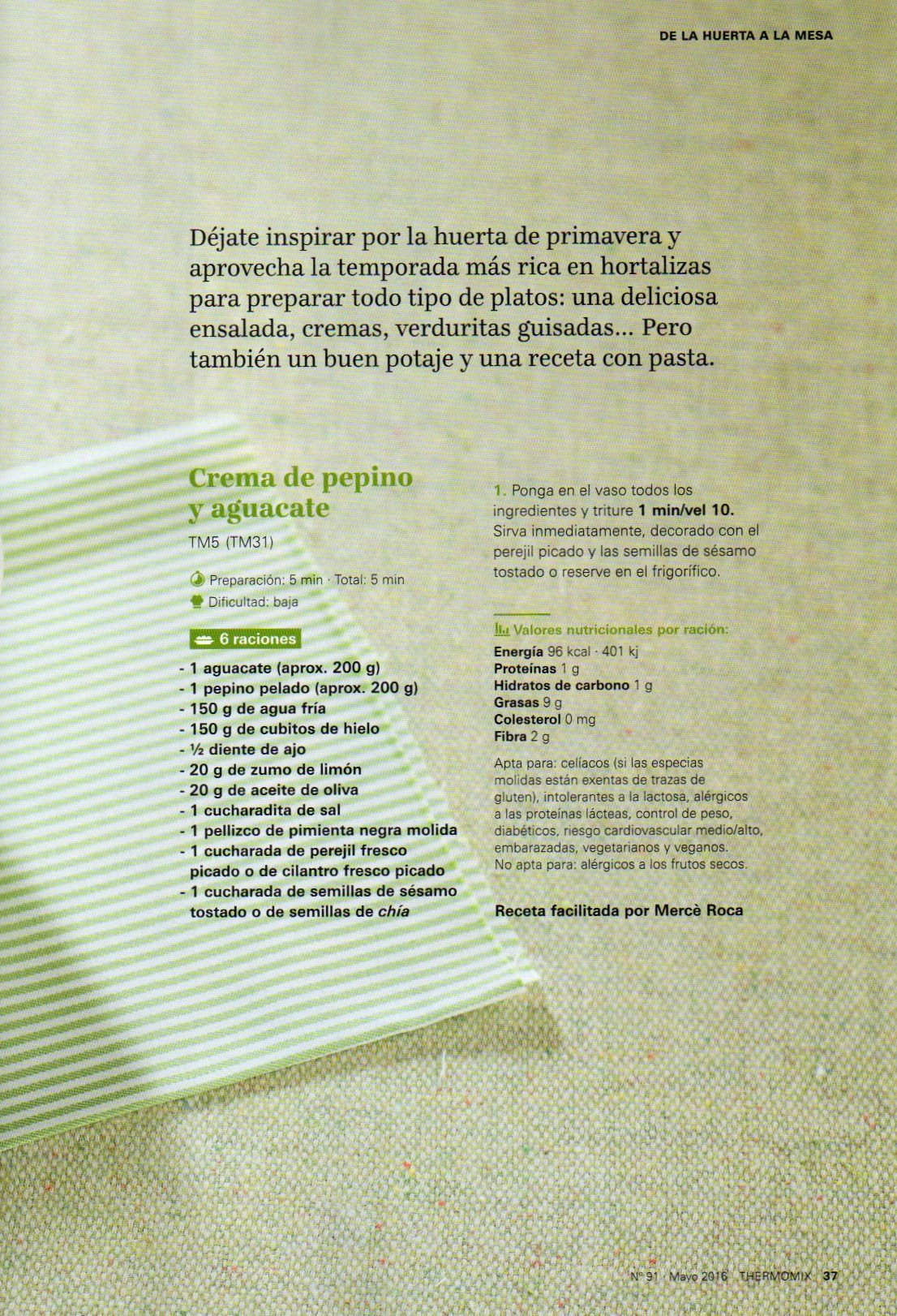 CREMA FRÍA DE PEPINO Y AGUACATE / CREMA FREDA DE COGOMBRE I ALVOCAT