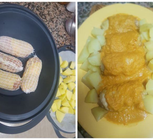 Pollo relleno con salsa y guarnición de patatas