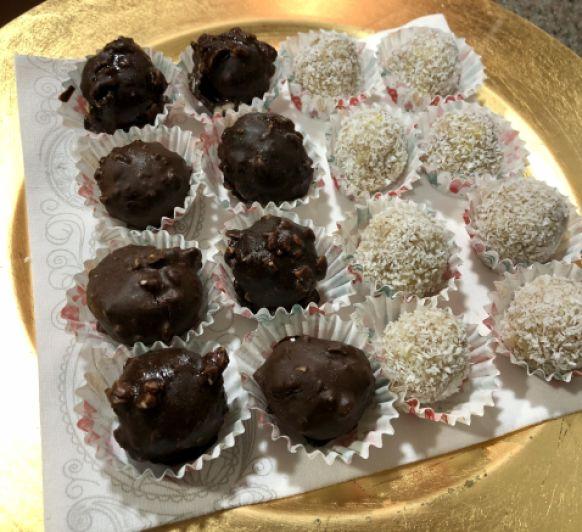 Bombones de chocolate saludables con sorpresa de avellana
