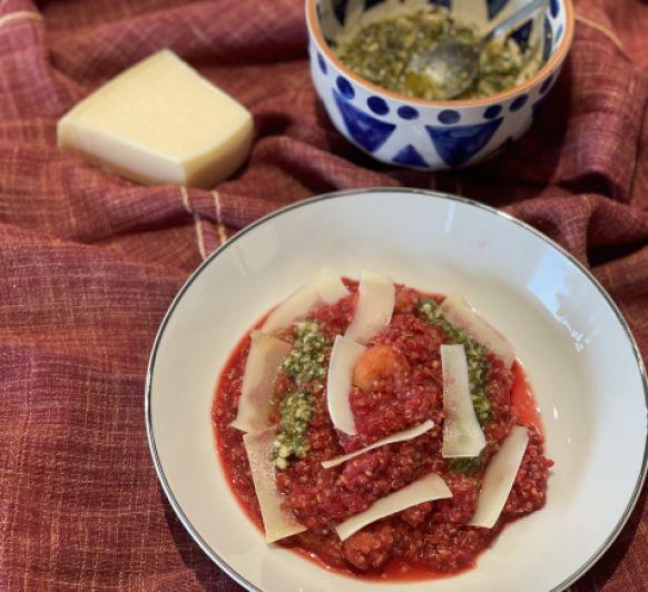 Rissotto de quinoa i remolatxa amb pesto de menta